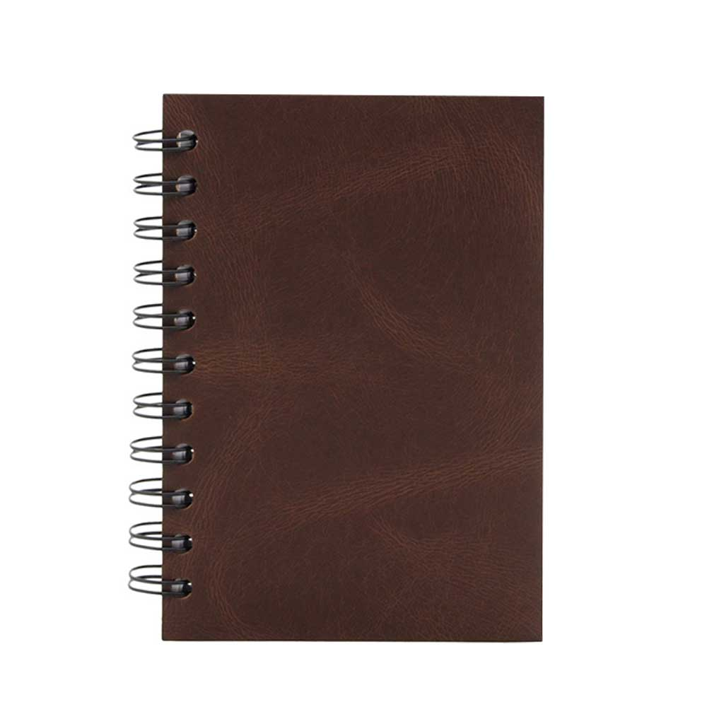 Brown leather spiral notebook