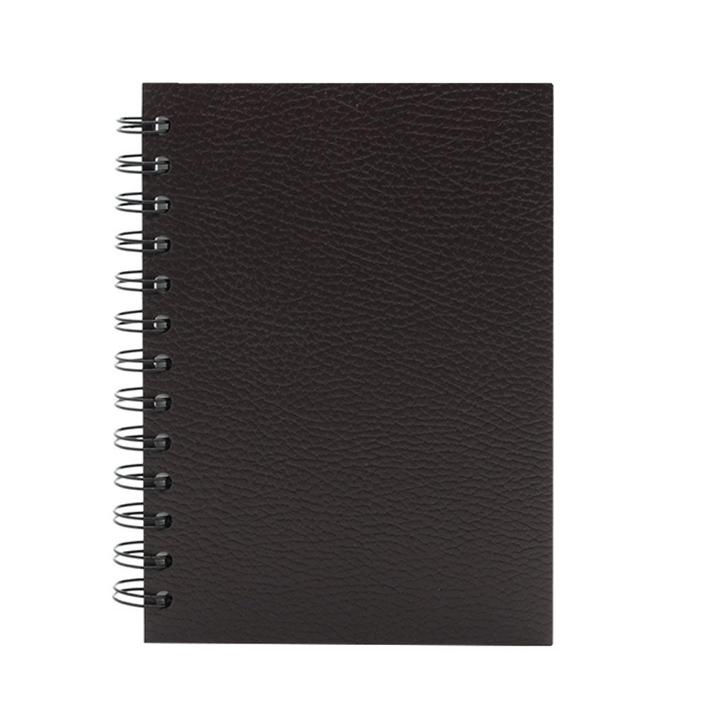 Brown dark leather spiral notebook