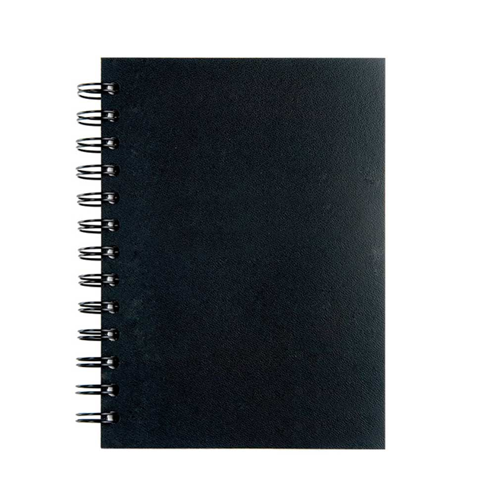 Black leather spiral notebook