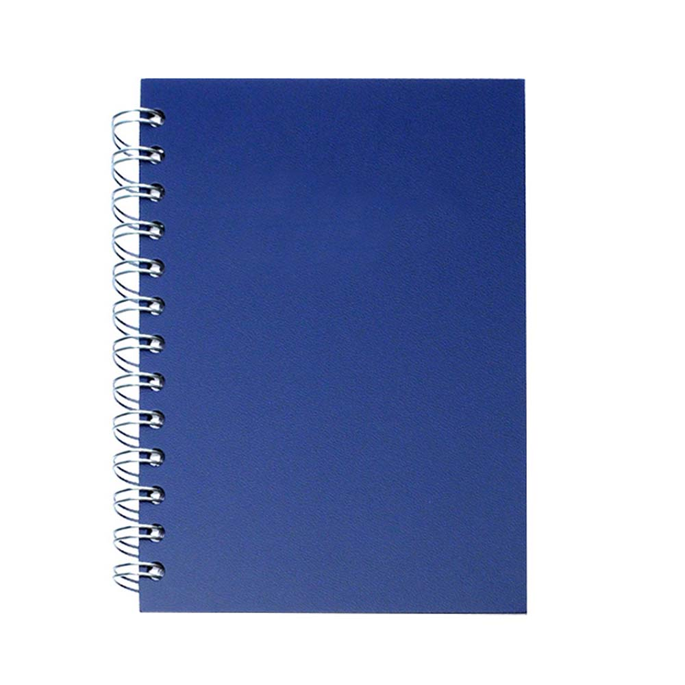 Blue leather spiral notebook