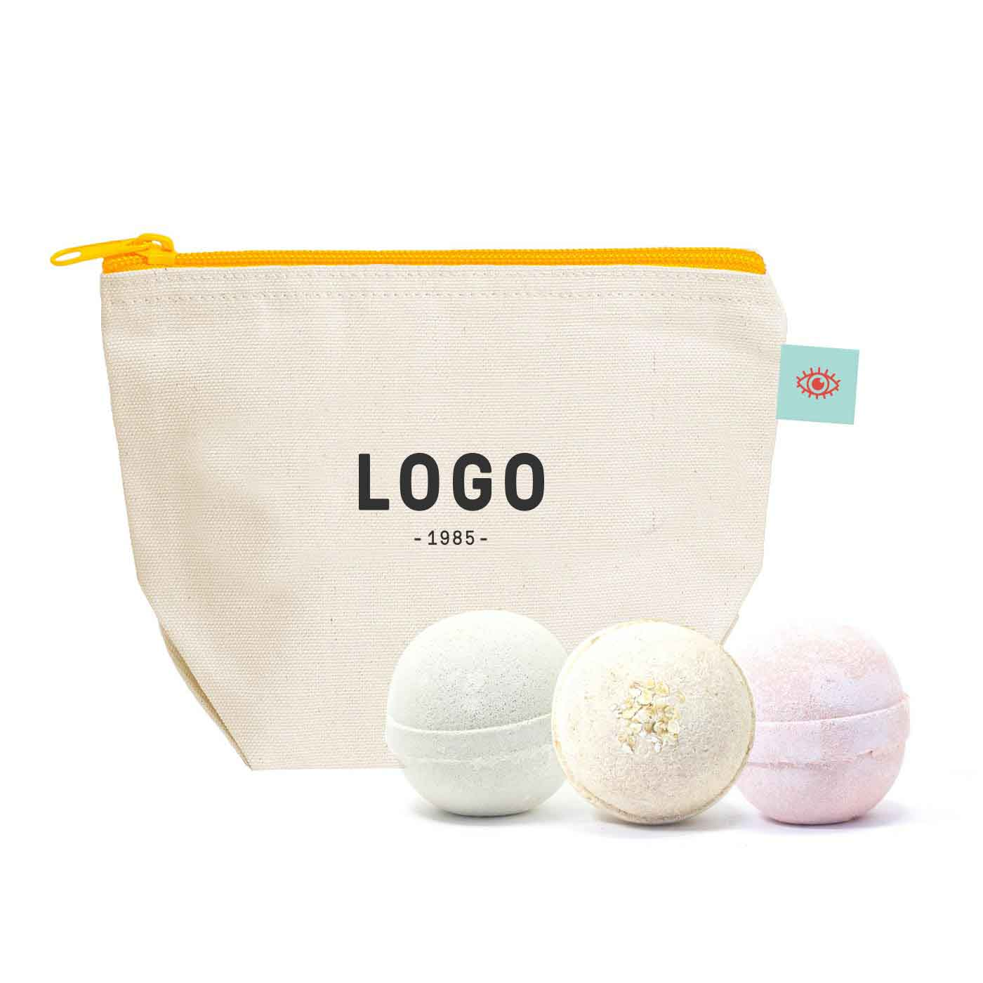 130262 artisan bath bombs 4 pack custom canvas pouch with woven label