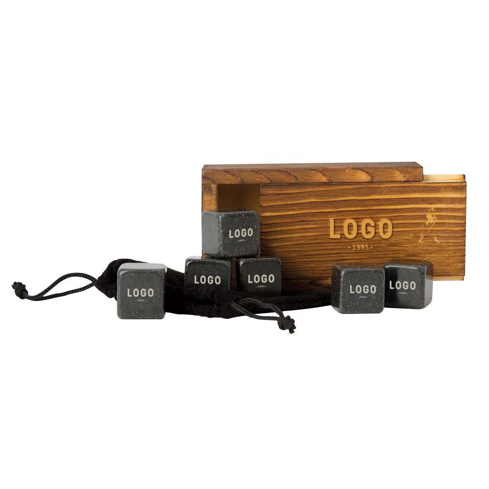 130236 whiskey stone gift set engraved logo on box and stones