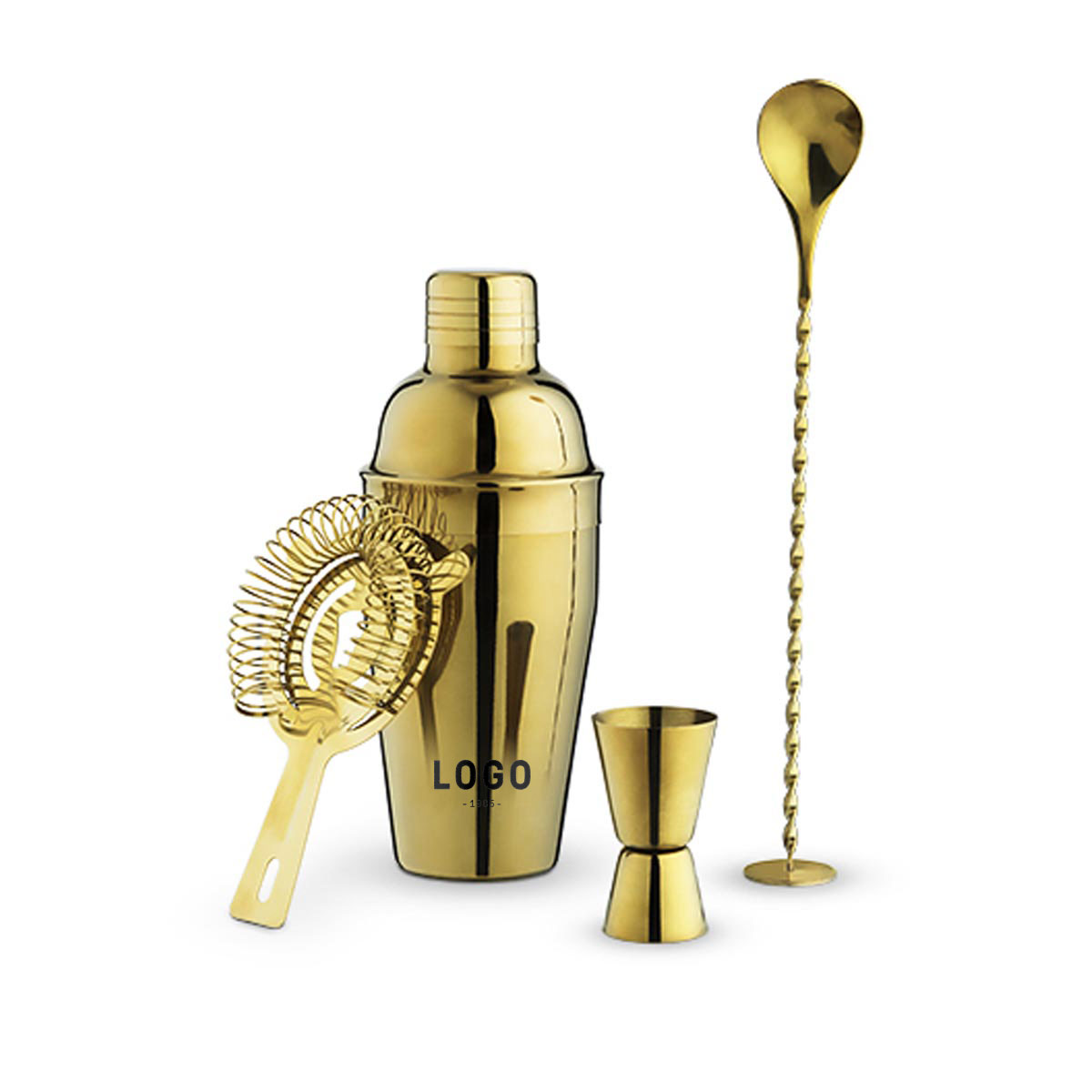 130234 gold shaker set one color imprint on jigger or shaker