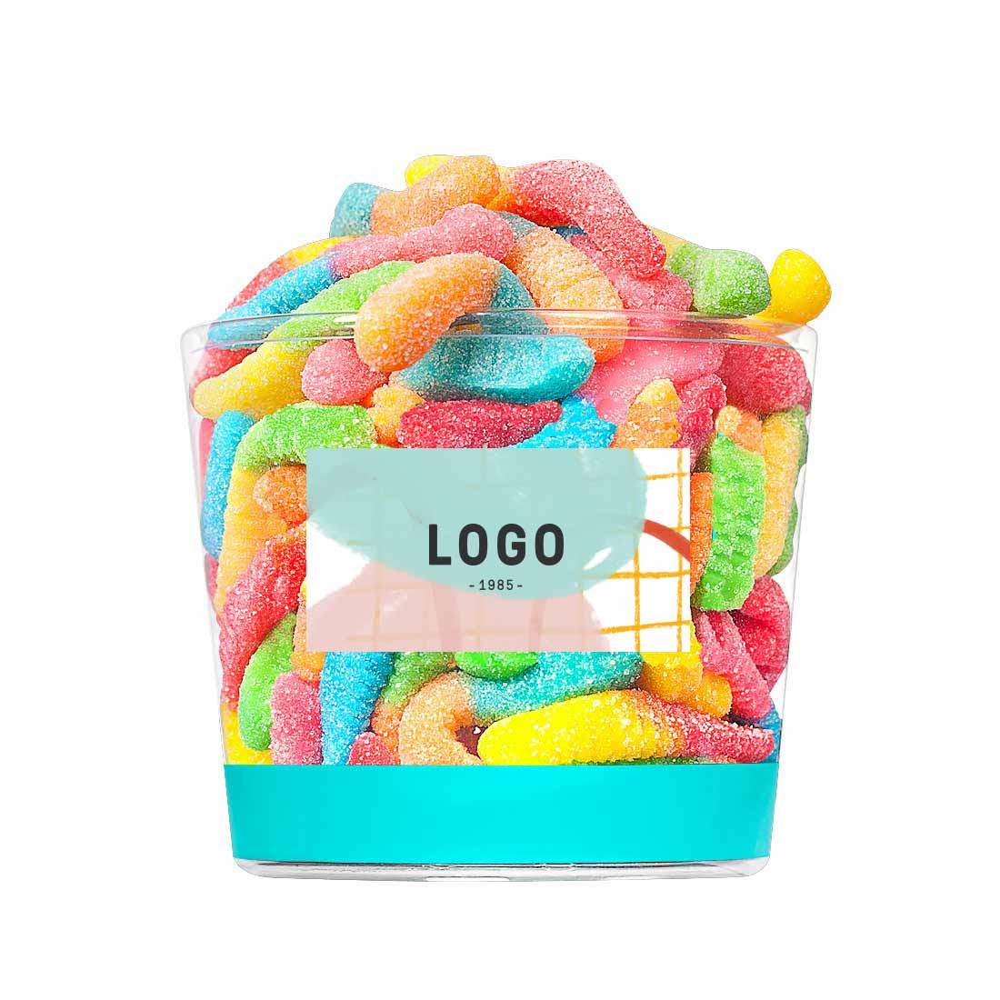 130196 candy bucket full color label front and lid