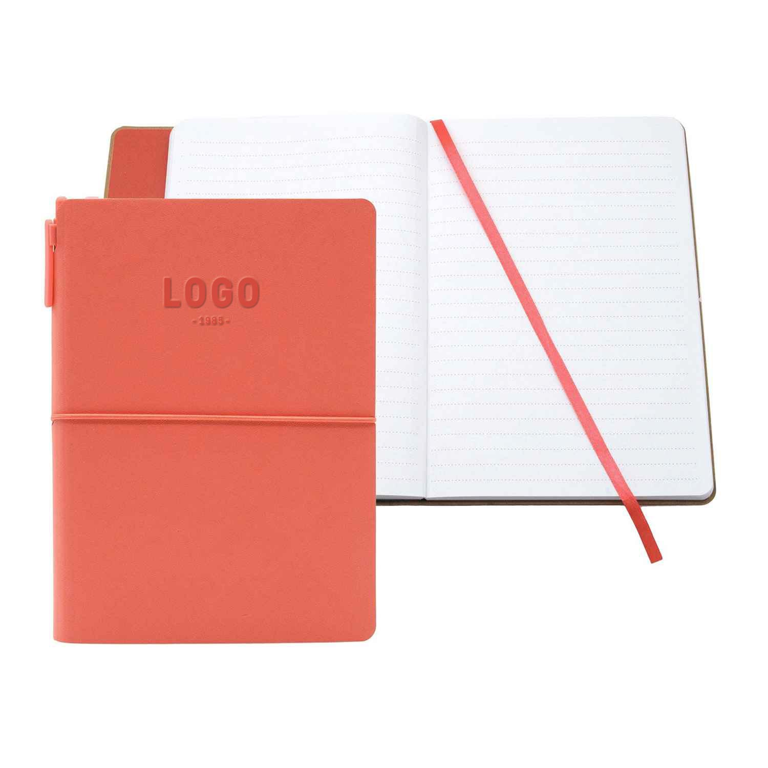 130191 small rio journal with pen one color hotstamp or blind deboss