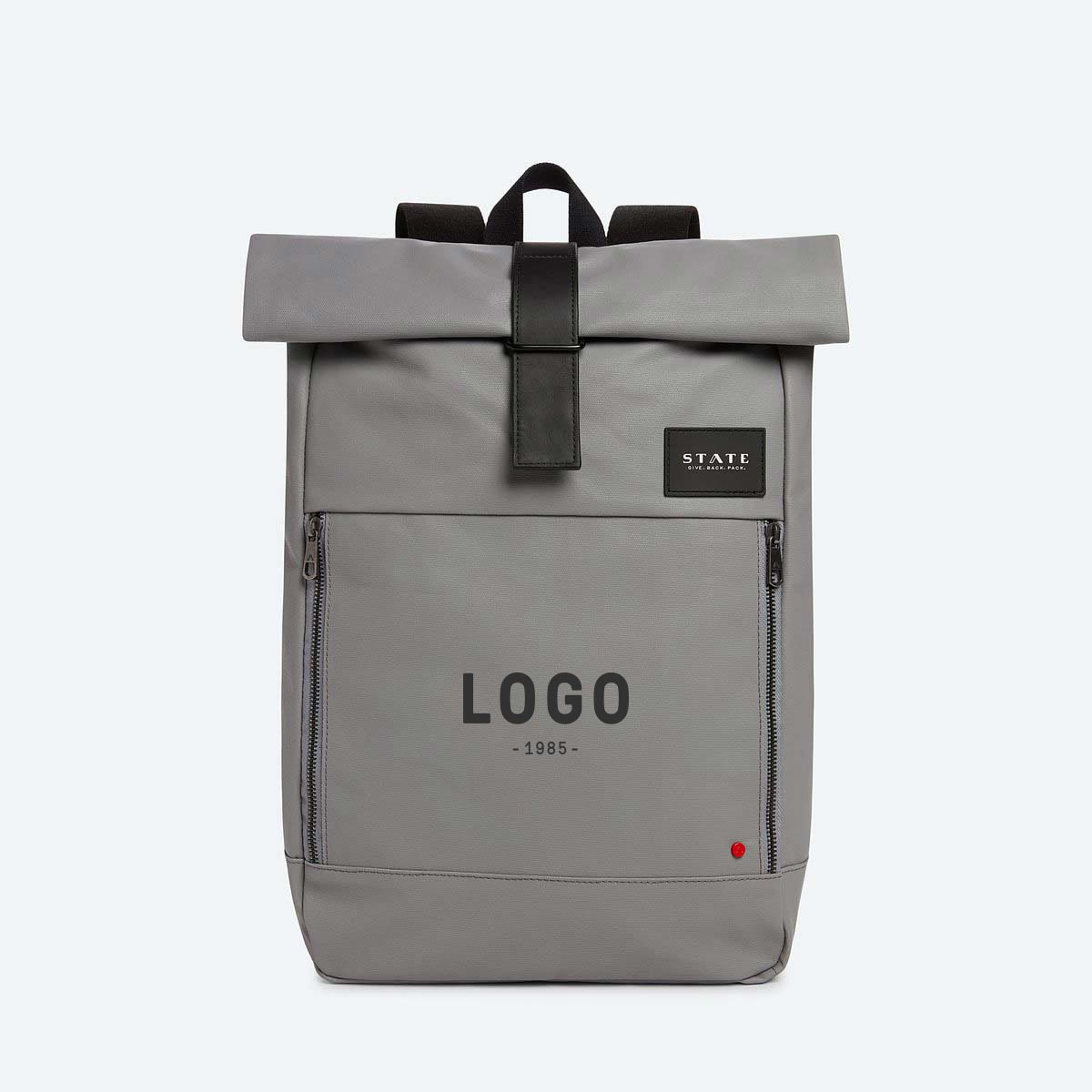 130164 colby rolltop backpack one color one location screenprint