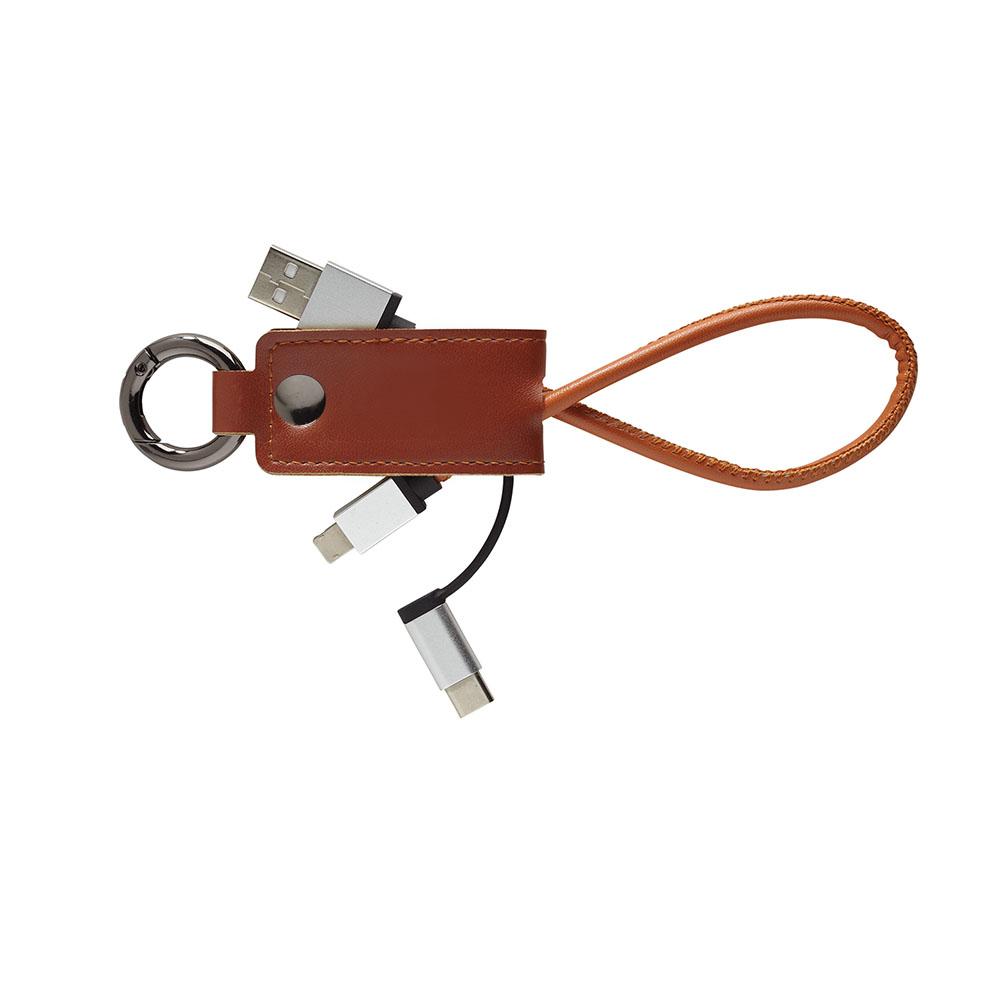 Brown veg leather charing keyring