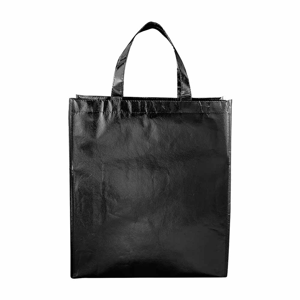 Black metallic tote starlight