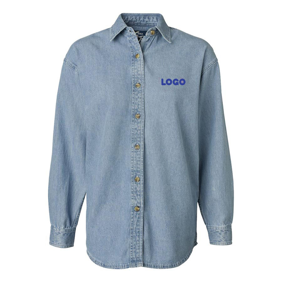 137907 denim button down one location embroidery