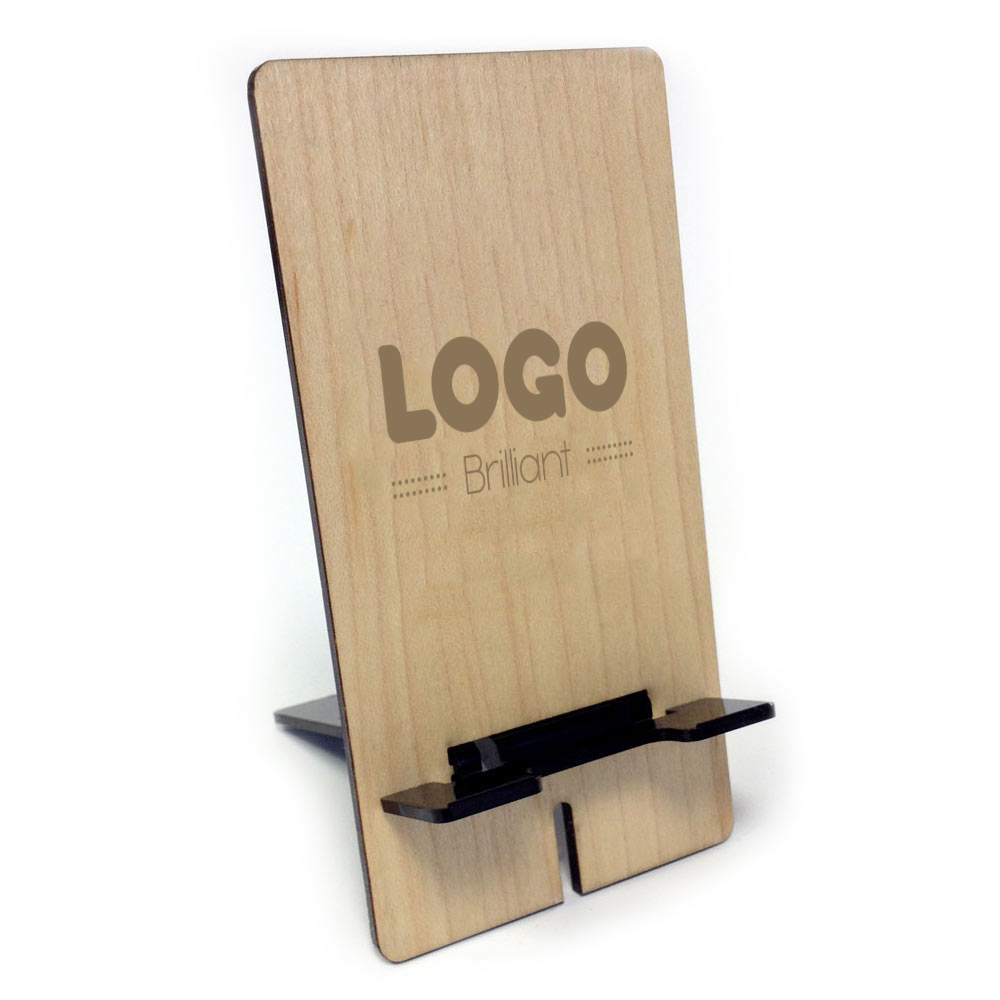 137886 wooden phone stand one location laser engraved
