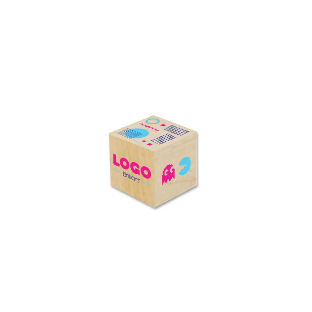 137878 custom wood desk cube 1 unique four spot color imprint on all six sides