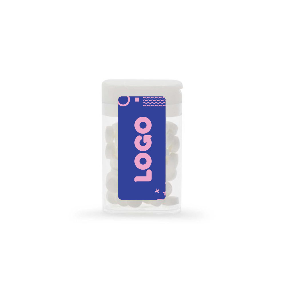 134833 flip top mint dispenser full color digital label