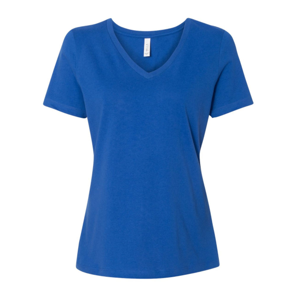Blue relaxed v neck jersey tee