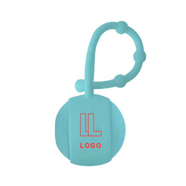 148062 natural lip balm ball with carabiner two color imprint on lip balm one color on carabiner