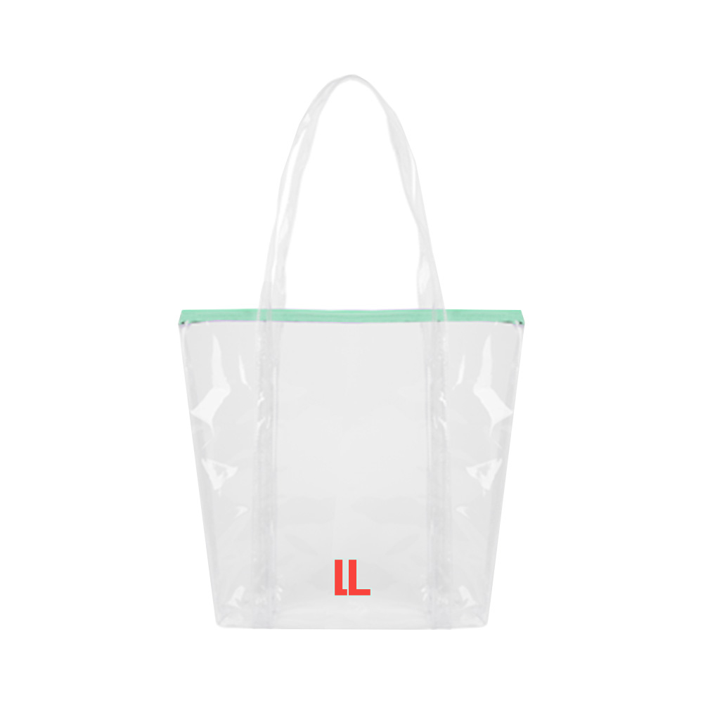 148029 clear as day zipper tote two color one location imprint