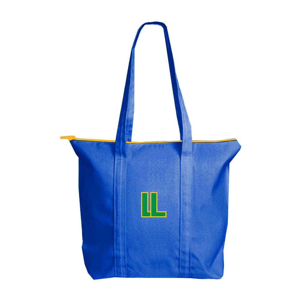 146711 colored canvas custom zip tote three color full bleed imprint