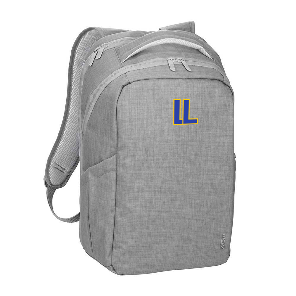 146575 heather gray laptop backpack two color one location imprint
