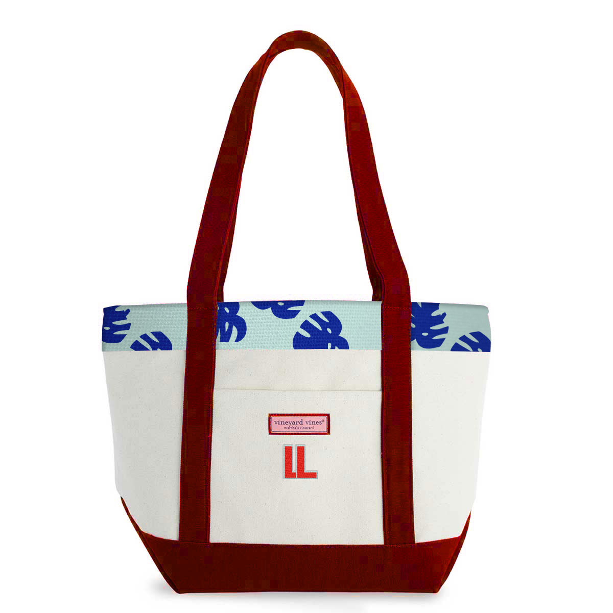 148125 classic tote custom silk pattern two sides embroidered one location custom handles bottom