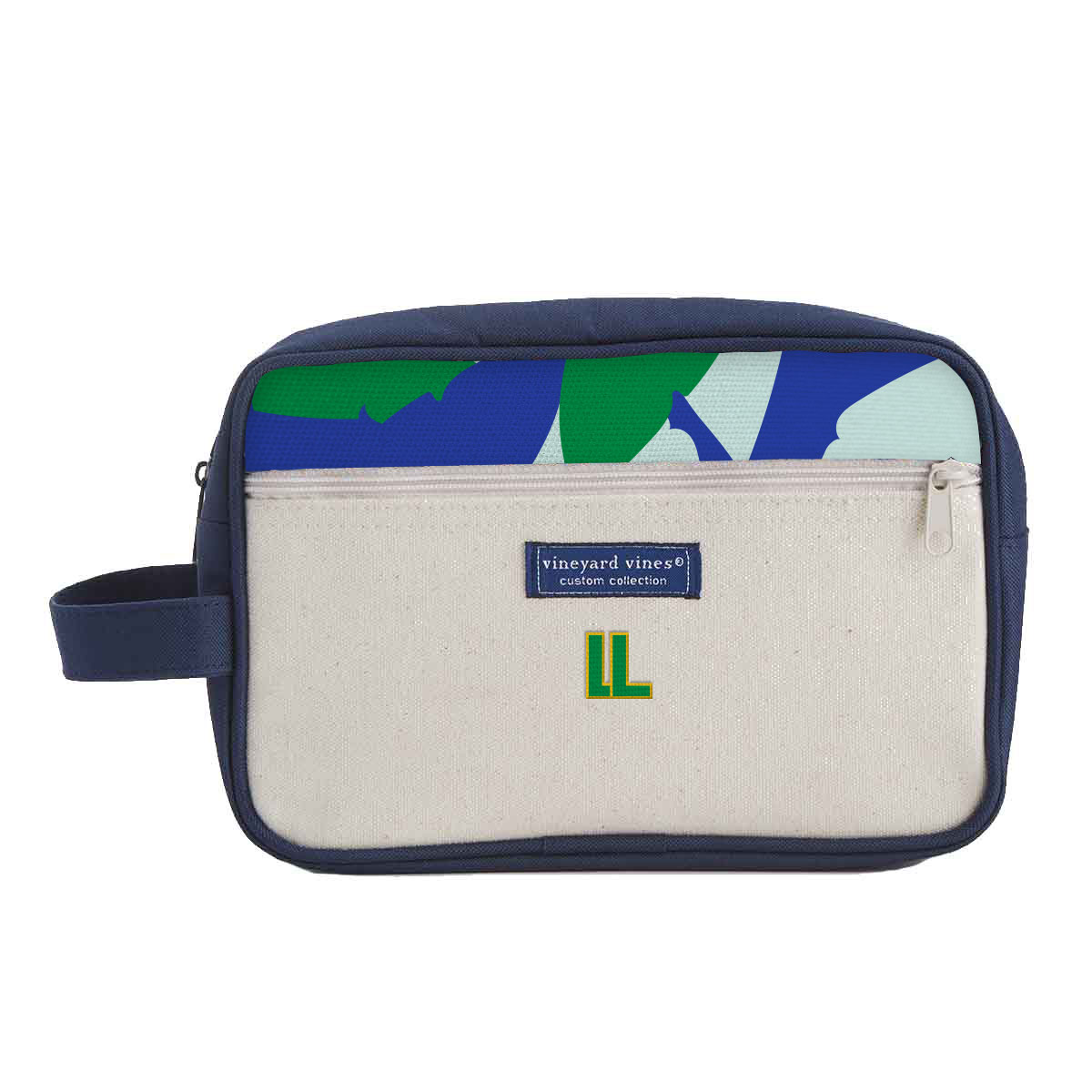 148124 dopp kit custom silk pattern two sides embroidered one location