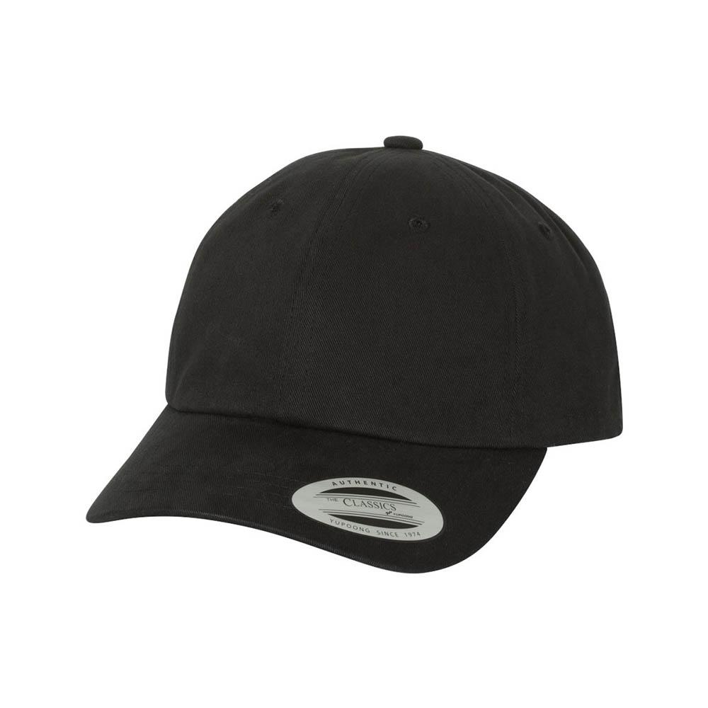 Black peached cotton dad cap