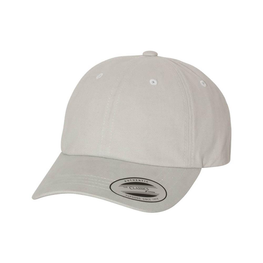 Gray peached cotton dad cap