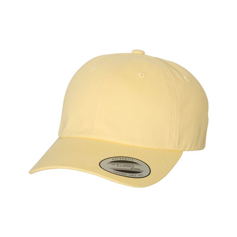 Yellow peached cotton dad cap