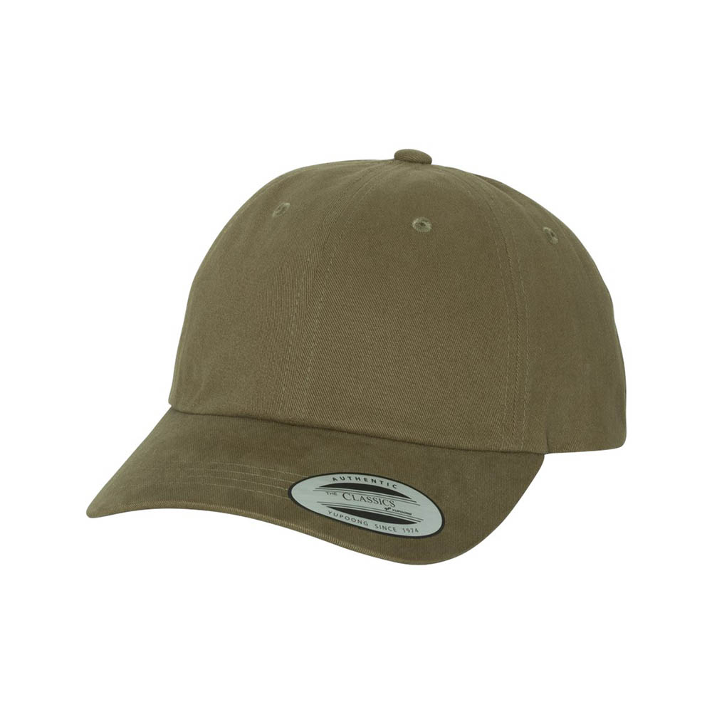 Khaki peached cotton dad cap