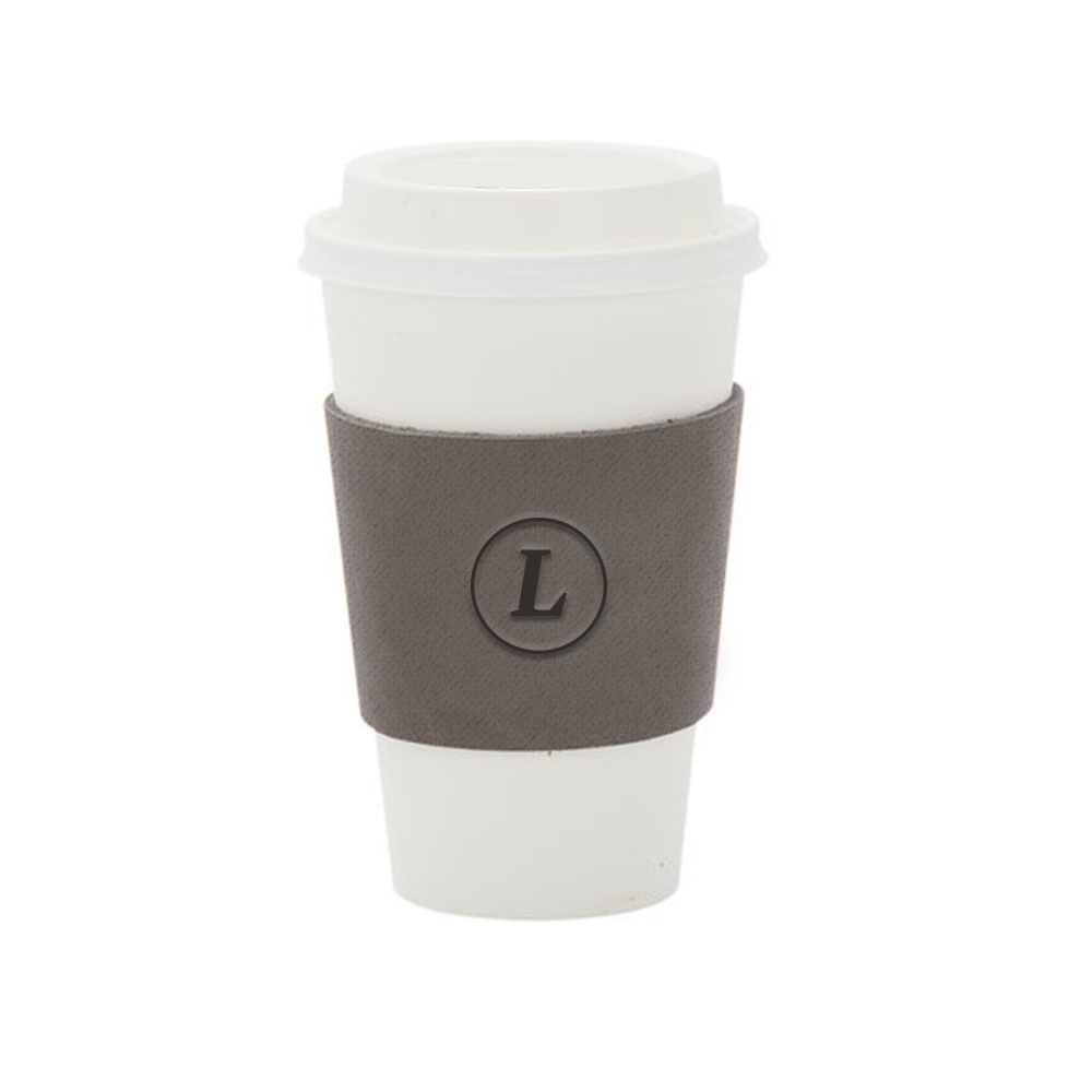 165860 leather coffee sleeve one location deboss imprint