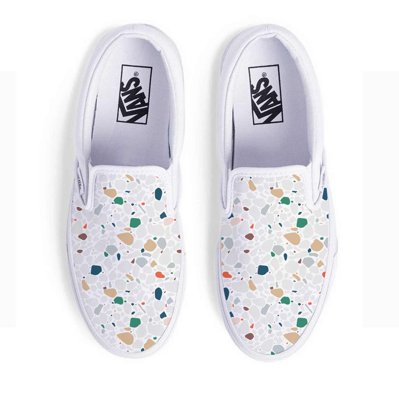 165454 slip on sneakers white vans full color digital imprint