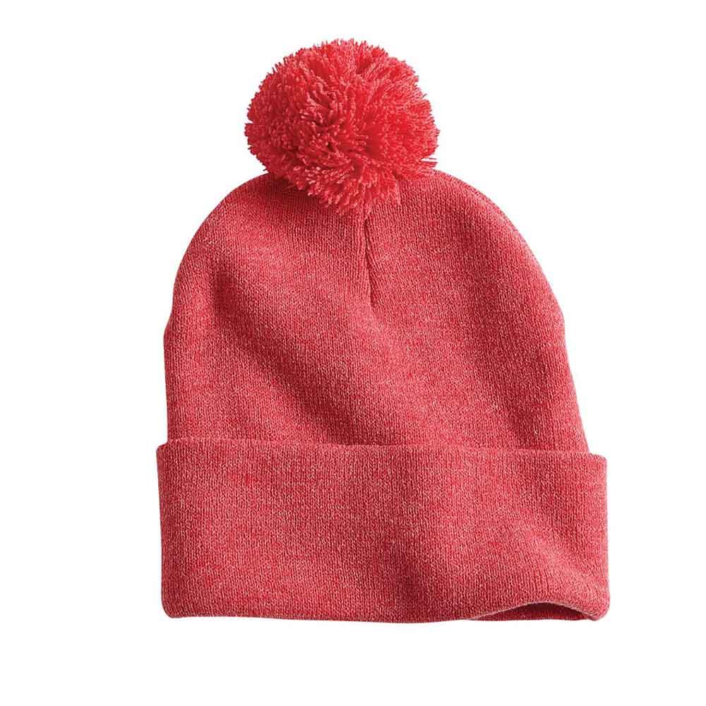 Red heather pom folded beanie ss