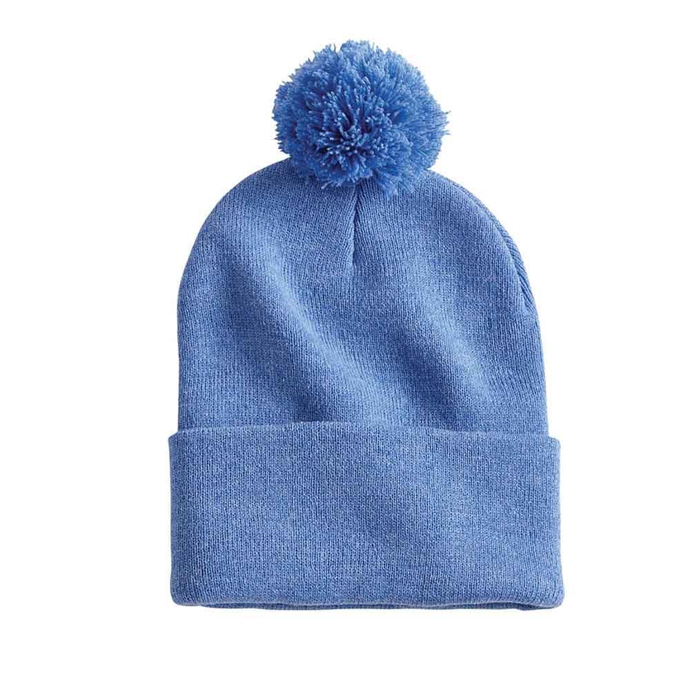 Blue heather pom folded beanie ss