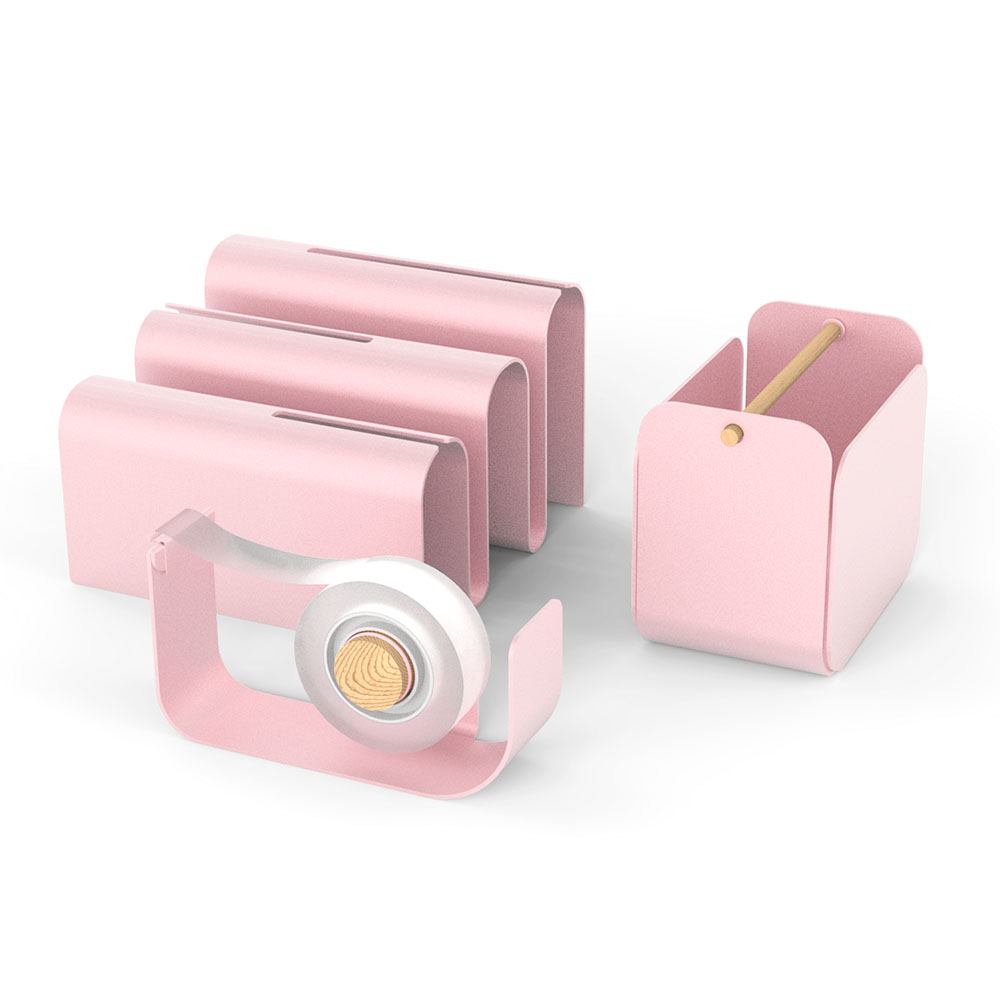 Pink metal desk set