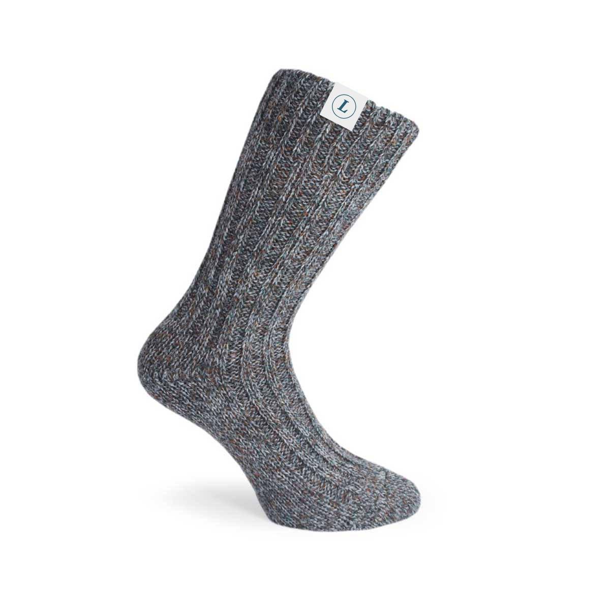 166158 woven wool socks full color woven hem tag