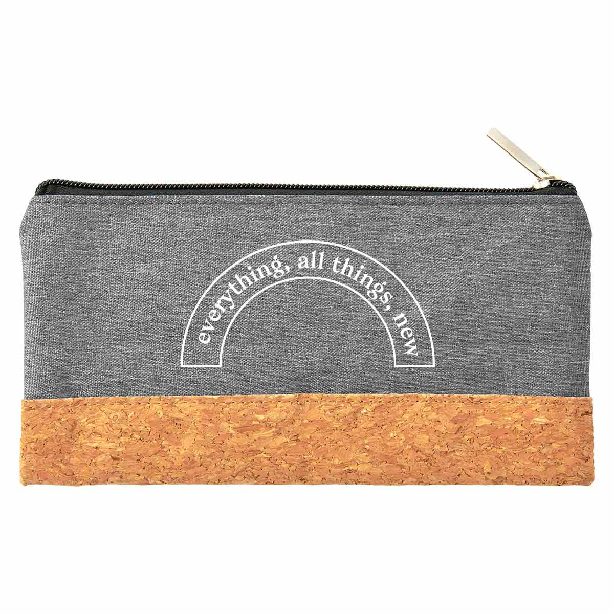 199957 heathered cork pouch one color imprint only