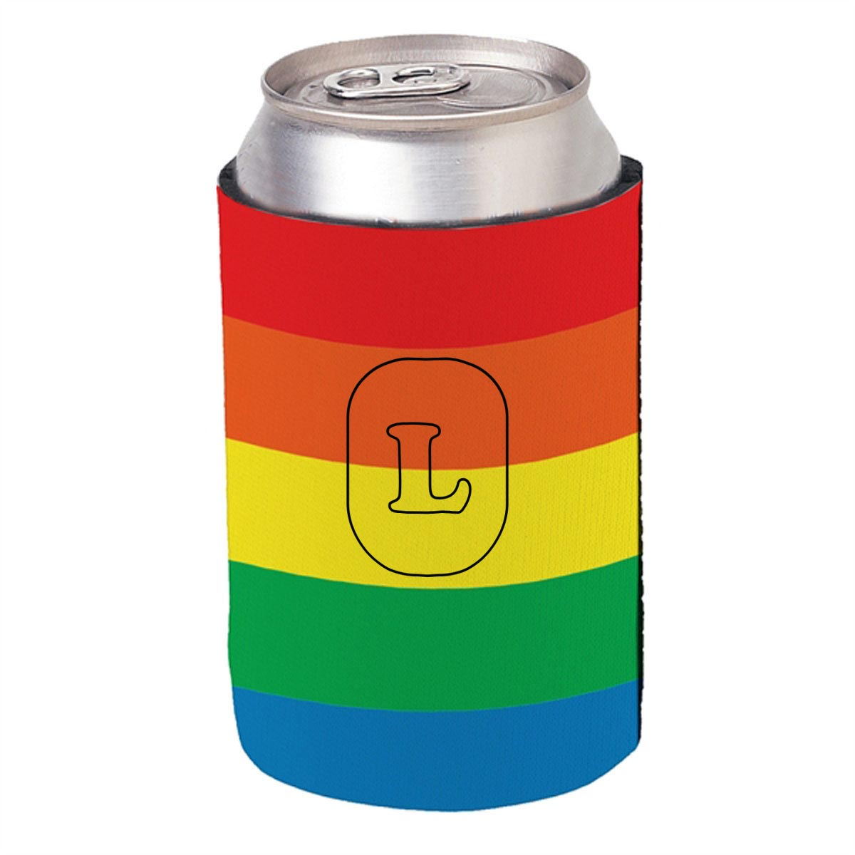 223989 rainbow koozie one color one location imprint