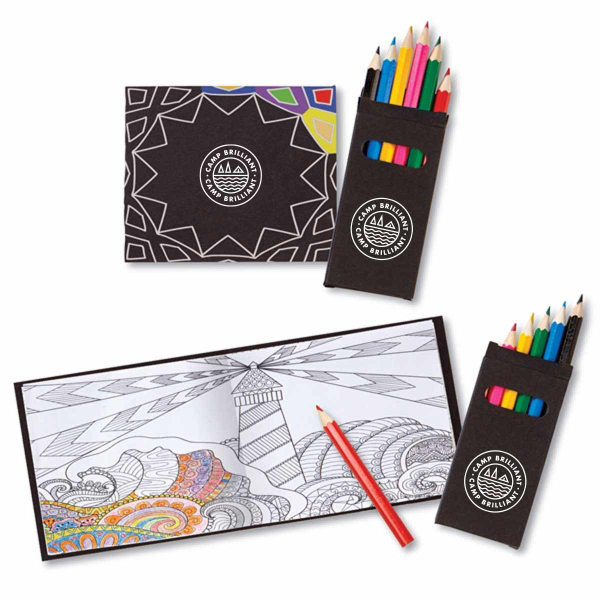 229572 midnight adult coloring set one color imprint on book cover and pencil case same size logo on both