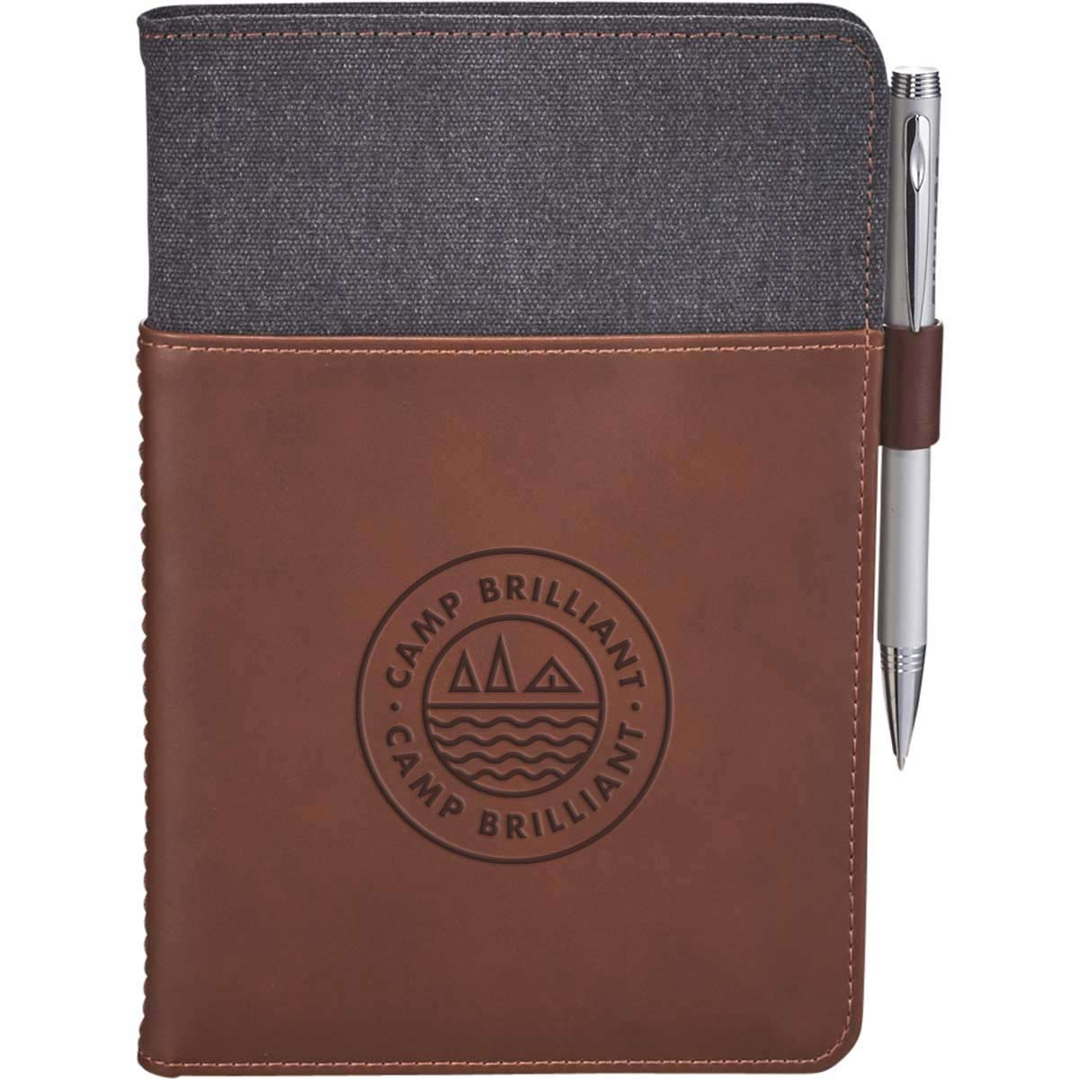 229578 canvas leather notebook set one location deboss