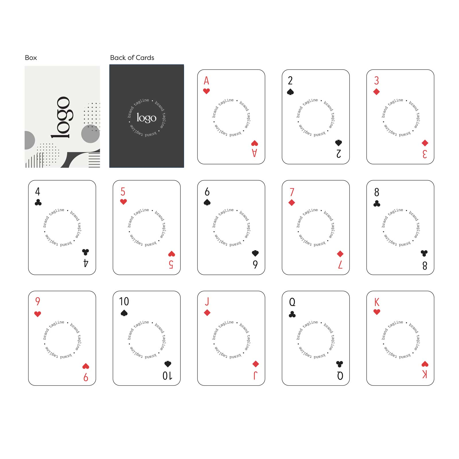 242946 custom playing card deck full color full bleed digital imprint one back design unique design for each card front clear acetate box