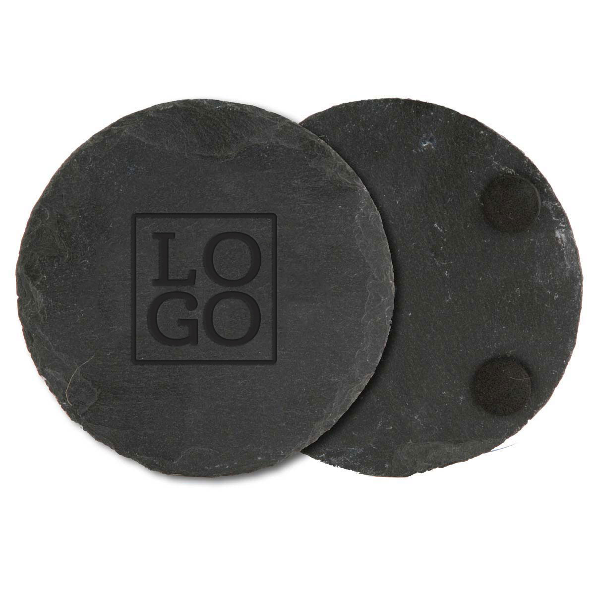 250793 round slate coaster one location laser engraved