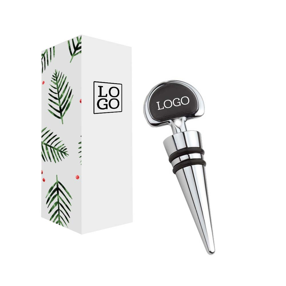 250833 vegan leather bottle stopper one color one location print on stopper custom gift box with full color imprint