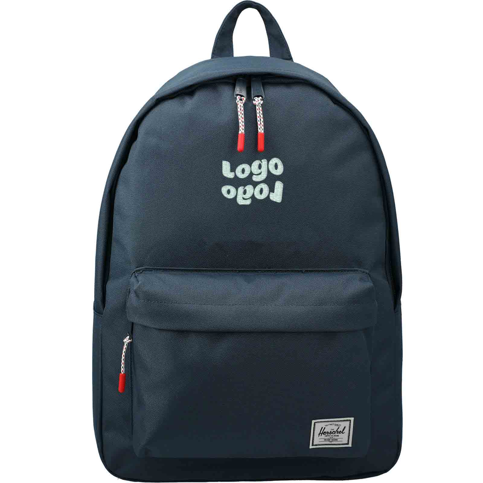 269624 classic backpack one location embroidered up to 4k stitches centered in panel above front pocket 4 50 h x 3 75 w