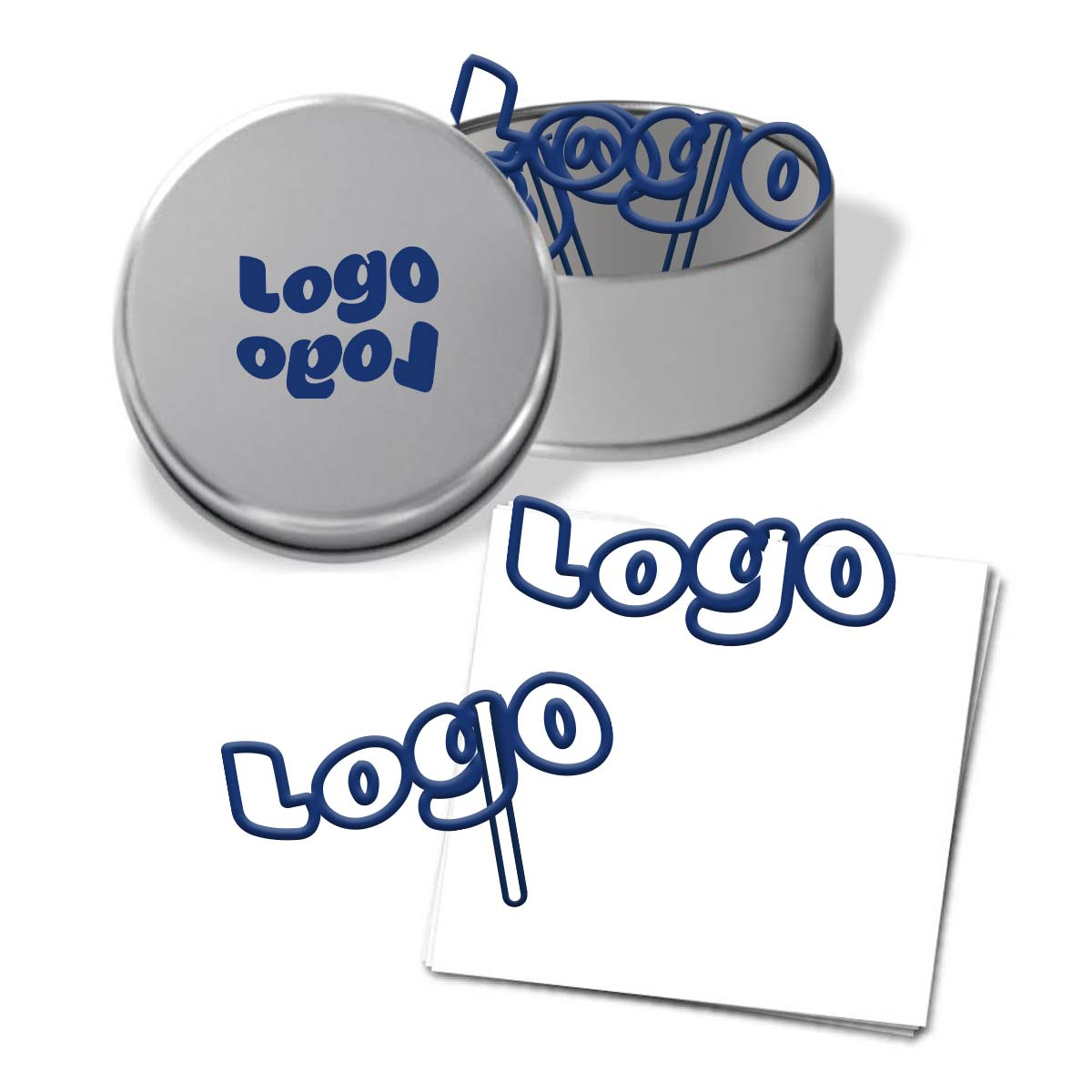 267914 logo paperclips custom shaped paperclip one color imprint on lid