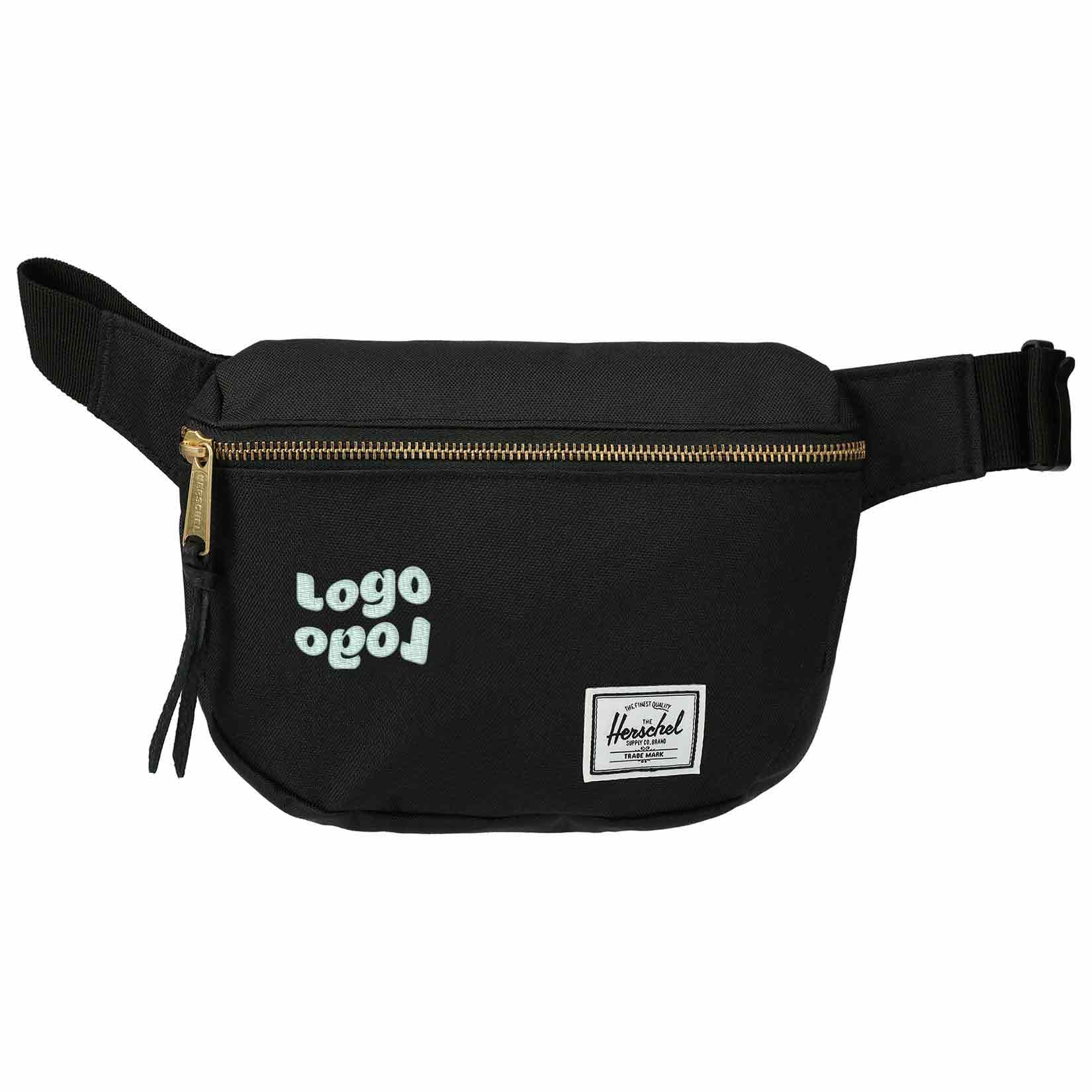 267953 fifteen hip pack one color heat transfer or embroidery centered on front pocket left of herschel tag between tag seam 2 50 h x 2 50 w