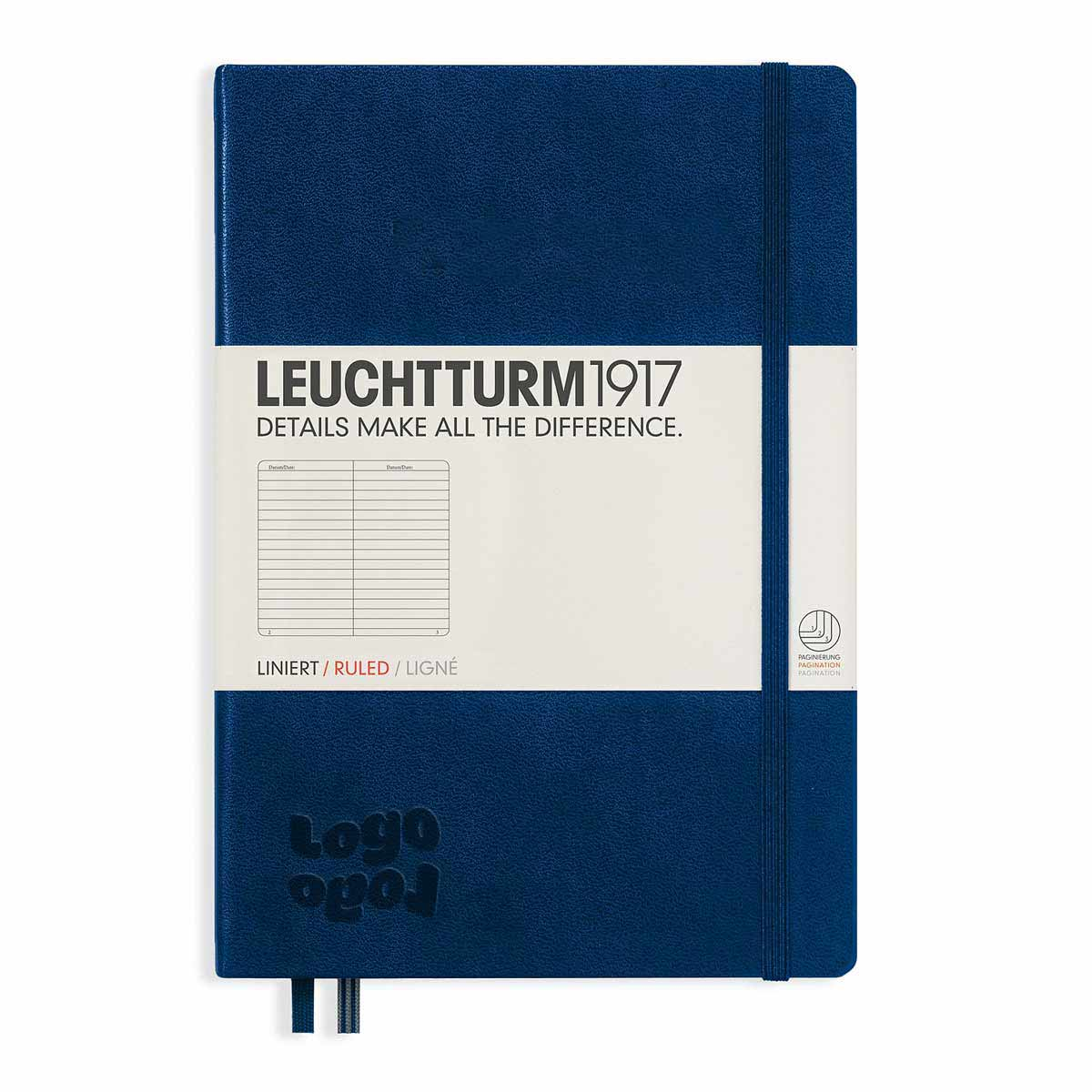 268303 medium hardcover notebook one location deboss or foil stamp on front cover
