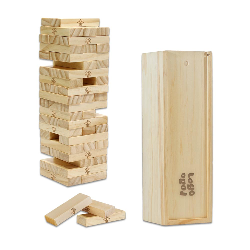 267961 tumbling tower game full color box one full color or laser engraving on each block