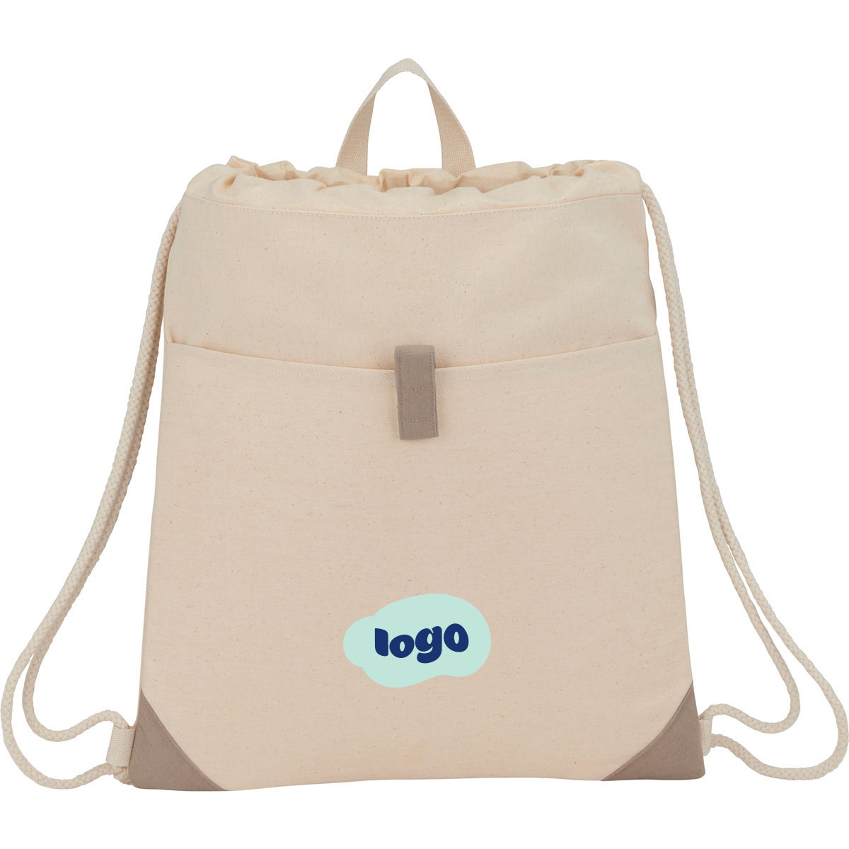 268804 recycled cotton drawstring bag two color heat transfer one location