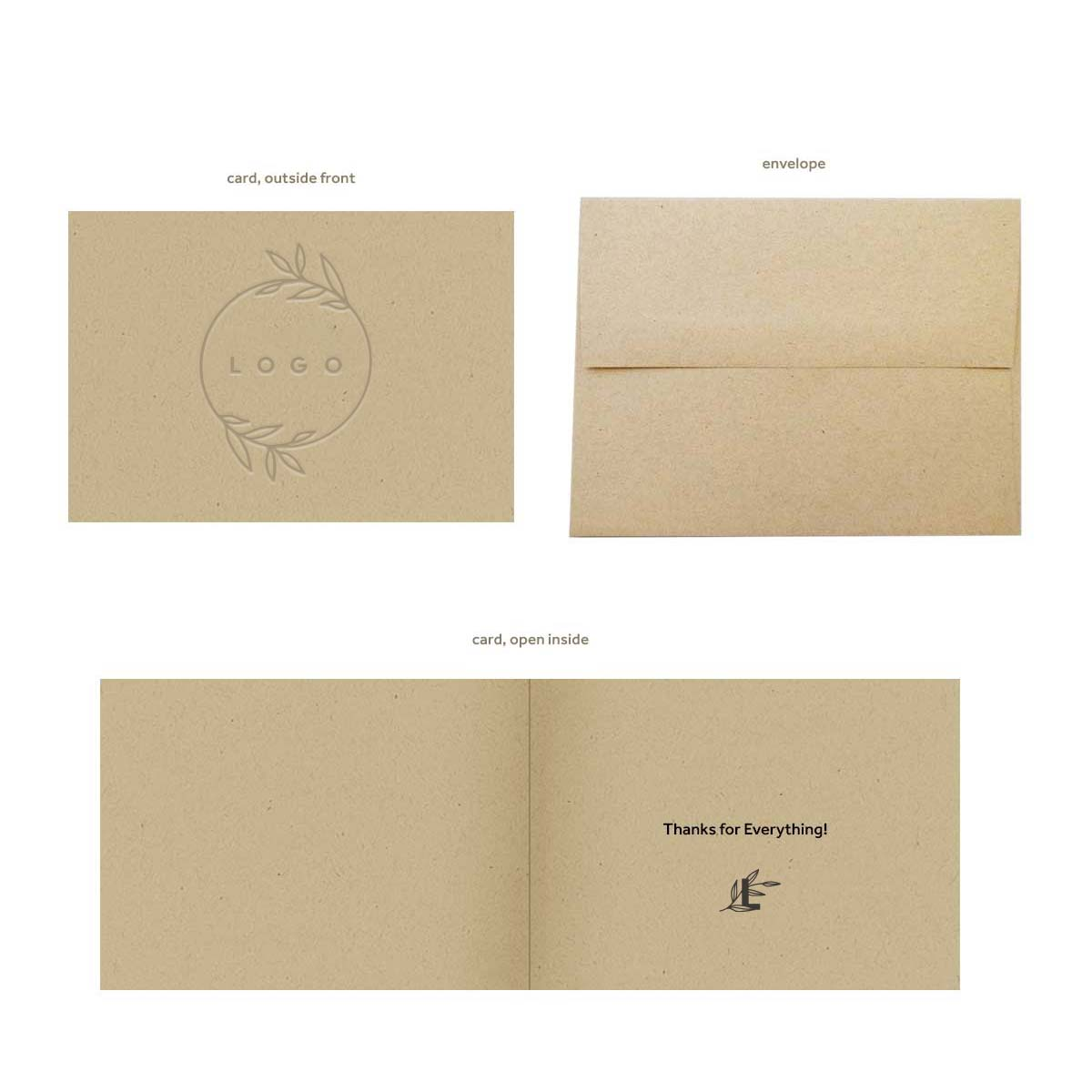 289310 kraft thank you card one location emboss front one color screen inside card blank envelope
