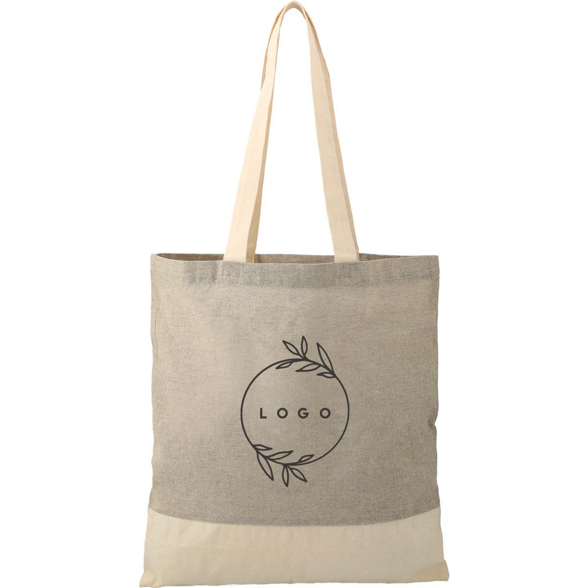 287841 two tone recycled cotton tote one color one location imprint