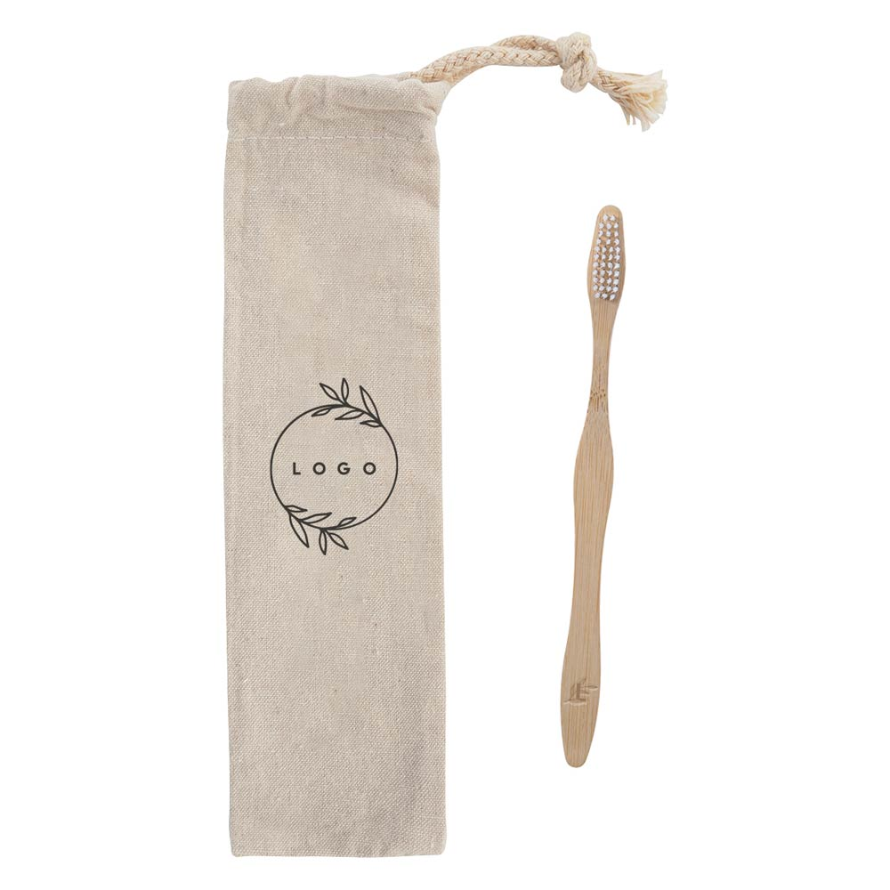 289316 sustain bamboo toothbrush and puch laser engraving on toothbrush one color silkscreen on pouch