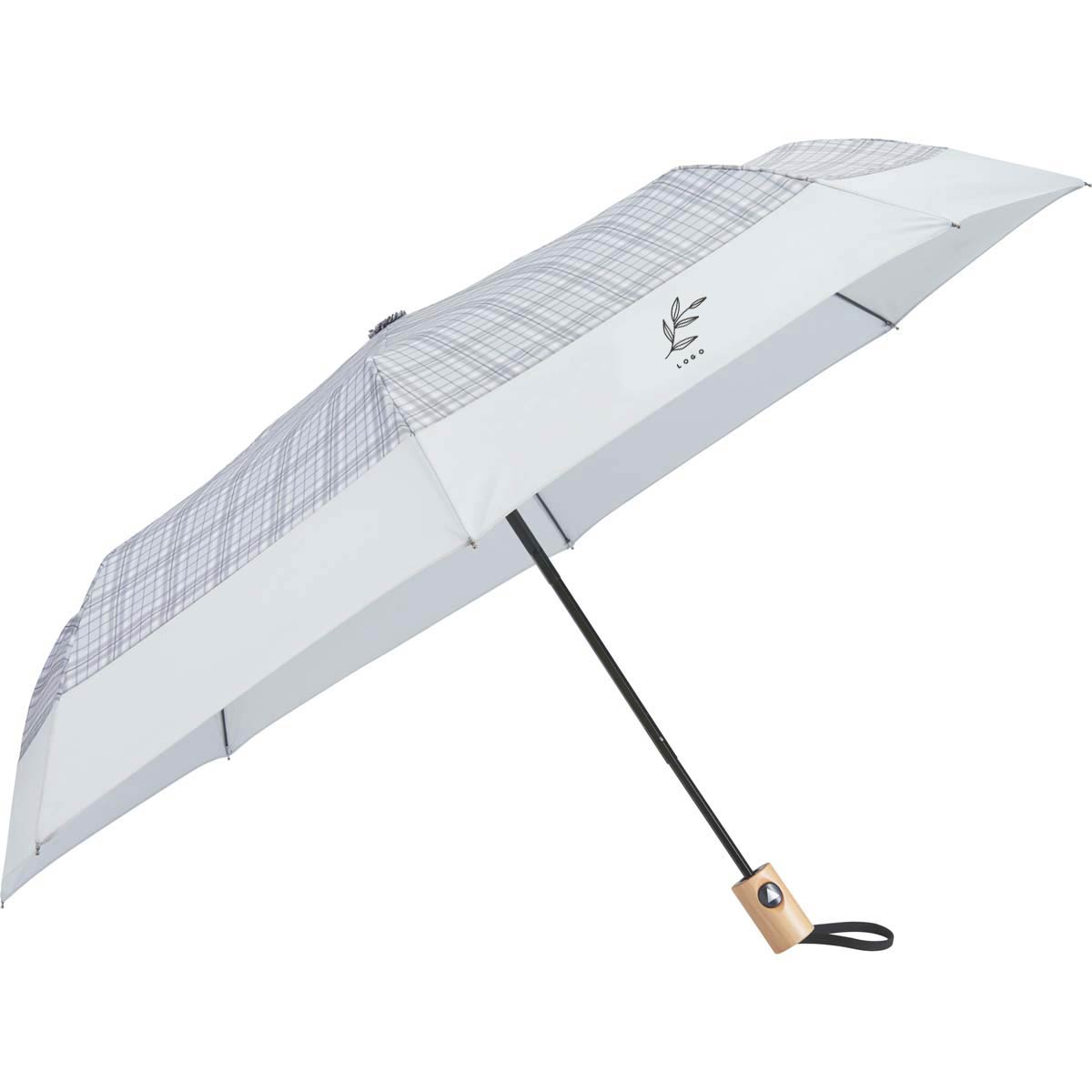 287552 recycled plaid umbrella one color one location imprint